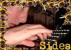 bees around the side of a man typing at a typewriter