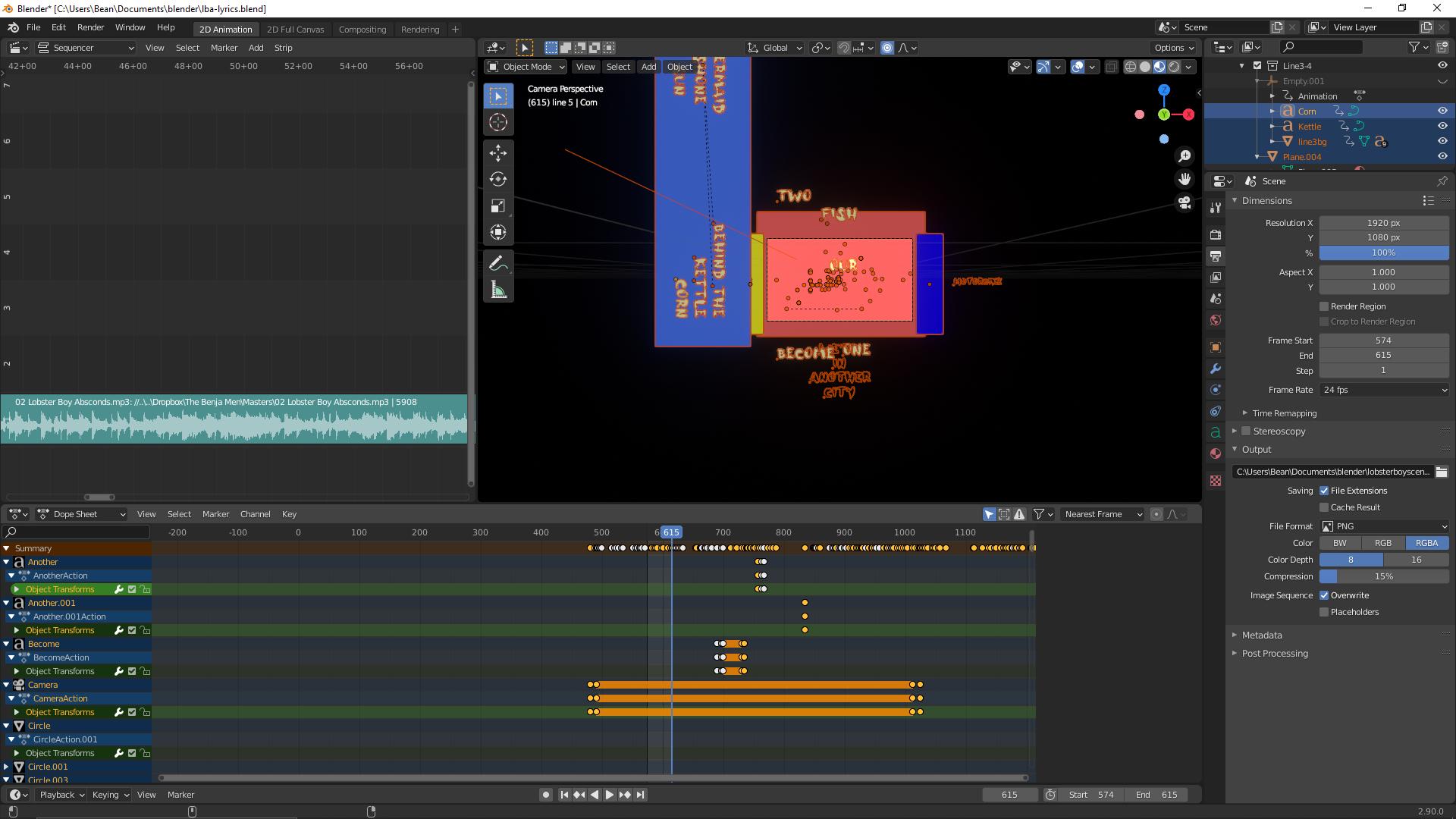 Screenshot of the blender project